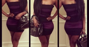 Tylibah's Look 1/20/14 Purple and Black Stripped BCBG Dress and Black Guess Heels